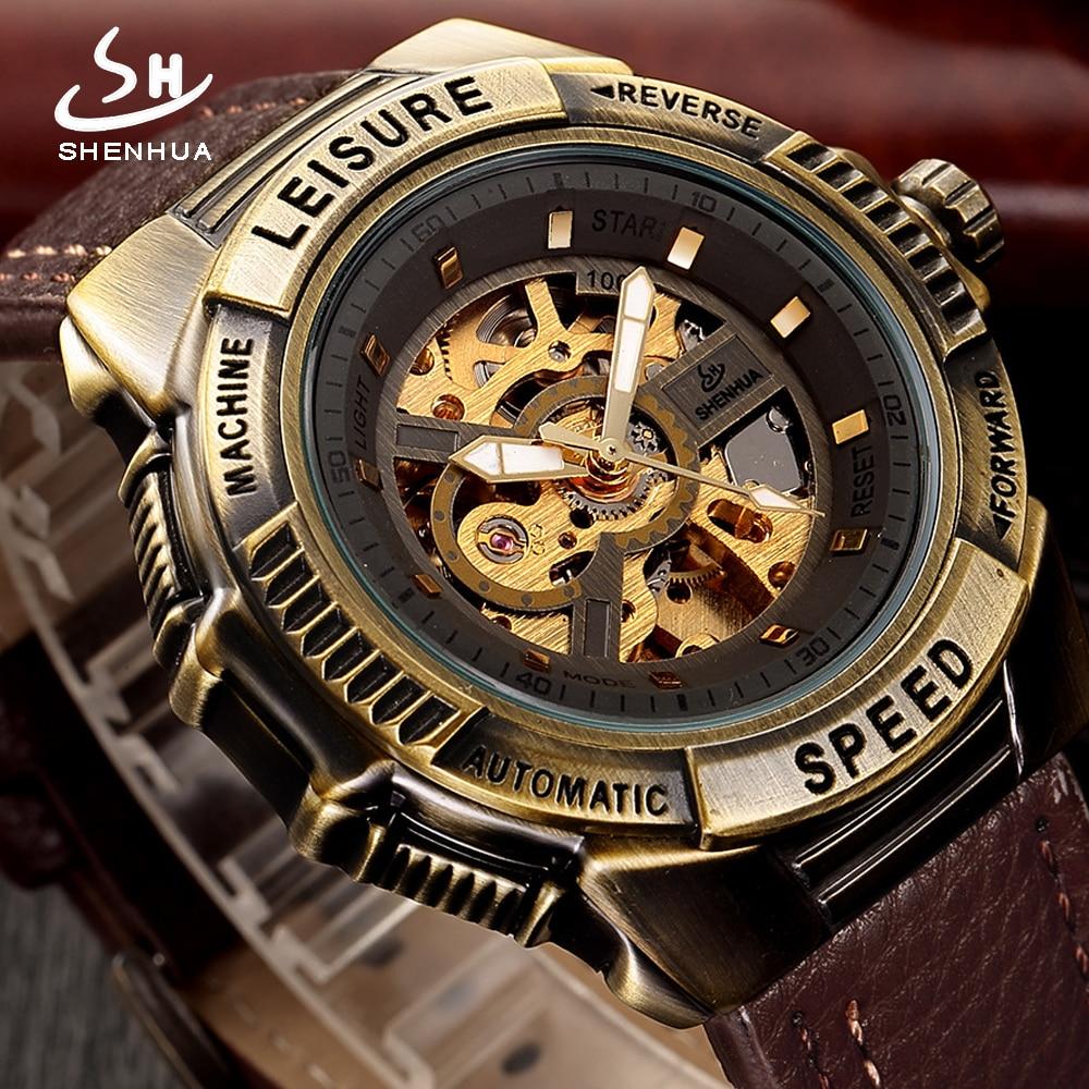 SHENHUA Steampunk Automatic Watch Men Vintage Bronze Skeleton Mechanical Mens Wrist Watches Retro Leather Transparent Wristwatch цена