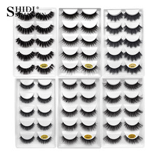 SHIDISHANGPIN 1 doos mink wimpers 5 pairs 3d nertsen wimpers natuurlijke lange valse wimpers volledige strip lash make-up wimper extension