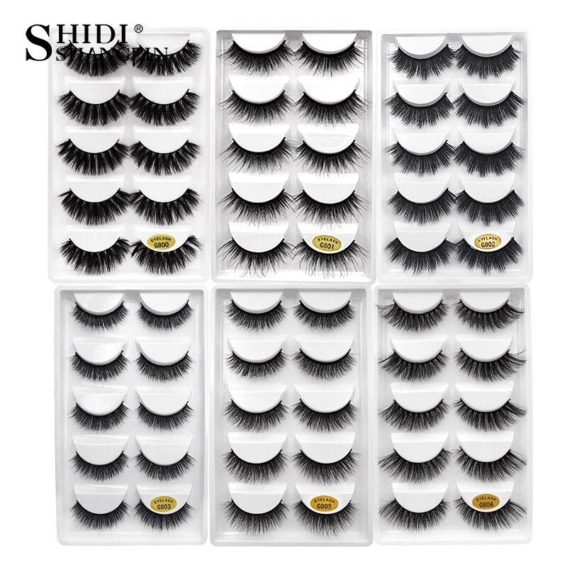 SHIDISHANGPIN 5 pairs mink eyelashes 1box 3d mink lashes natural long false eyelashes hand