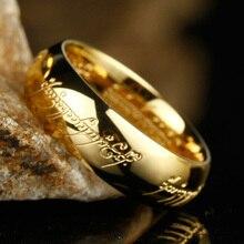 Высокое качество Золотой Цвет Хоббит подарок нержавеющая сталь одно кольцо силы ювелирные изделия Властелин Кольца для женщин мужчин(GR147