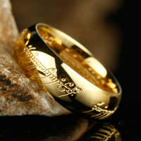 High Quality Gold Color Hobbit Gift Stainless Steel One Ring Of Power Jewelry Lord of Ring for Women Men Free Shipping (GR147)