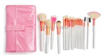ISMINE 20 PCS Makeup Cosmetic Brush set White/Pink fan brush highlighter brush eyebrow brushBrush bristle Pink Kit Case