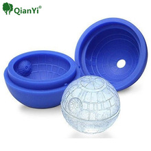 QianYi  Hot Creative Silicone Blue Wars Death Star Round Ball Ice Cube Mold Tray Desert Sphere Mould DIY Cocktail