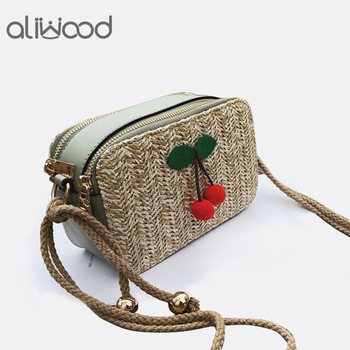 Bolso elegante de paja para mujer de aliwood, bolso de playa con doble cremallera, correa de cuero, bolsos de hombro para mujer, bolsos cruzados de mimbre para mujer con cereza