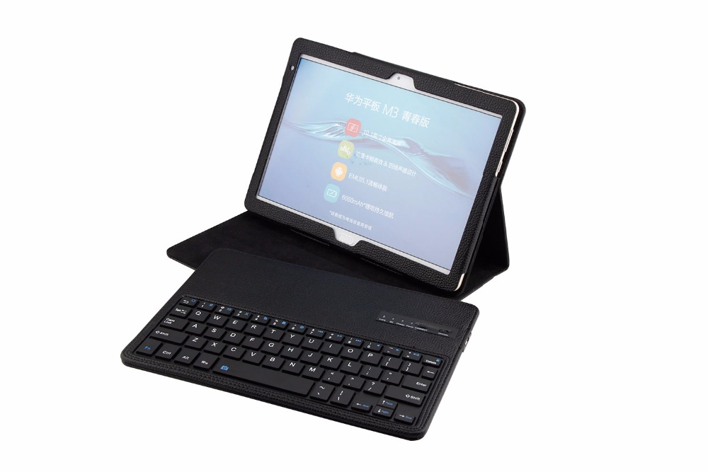 Wireless Bluetooth Keyboard PU Leather Cover Protective Case For Huawei MediaPad M3 Lite 10 BAH-W09/AL00 10.1 inch Tablet + Gift smart ultra stand cover case for 2017 huawei mediapad m3 lite 10 tablet for bah w09 bah al00 10 tablet free gift