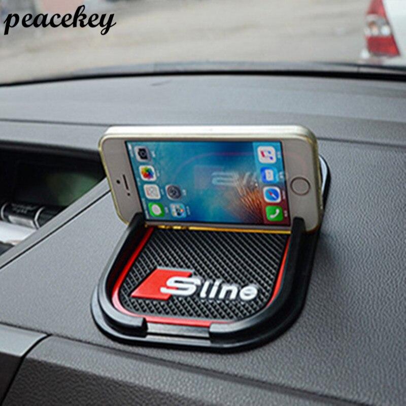 Tapis Sline 3D Mobile Téléphone GPS Titulaire Non Slip Pad S Ligne Emblème Badge pour Audi A3 A4 B7 B8 A6 C5 A5 Q5 Q7 S7