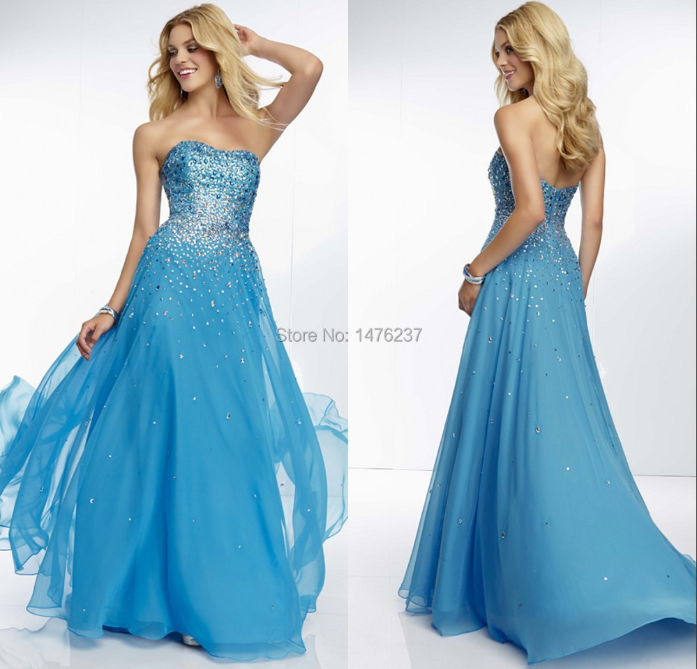 2015 Prom Dresses A-Line Blue Strapless Beaded Chiffon Long CY1164 - SheinDress store