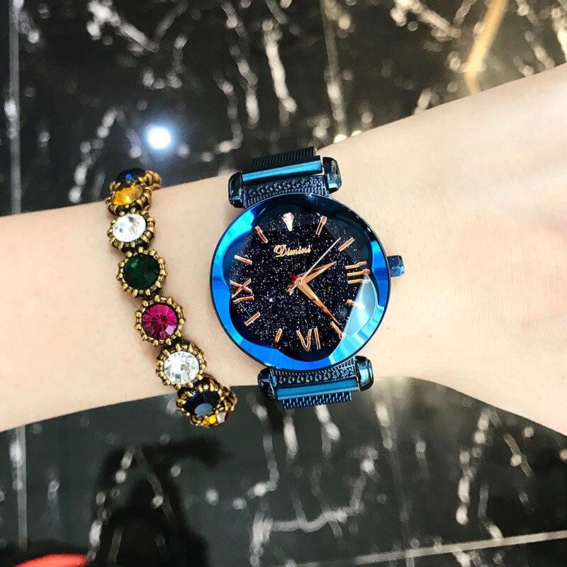 Montres femmes de luxe marque dame cristal montres bracelets ciel étoilé mode femme Quartz dames aimant sangle boucle libre montres-in Montres femme from Montres    2