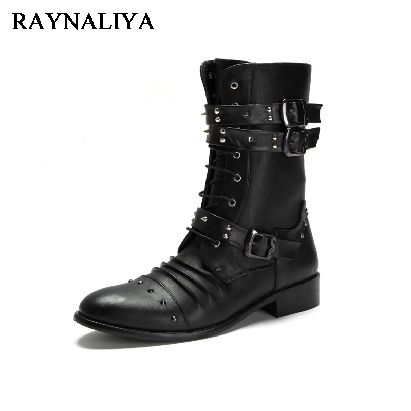 New Mid Calf Punk Shoes Street Fashion Rivets Winter Man Black Boots Buckle Gothic Lace Up Mid Calf Boots Shoes LMX-A0035 lace up slouch mid calf boots