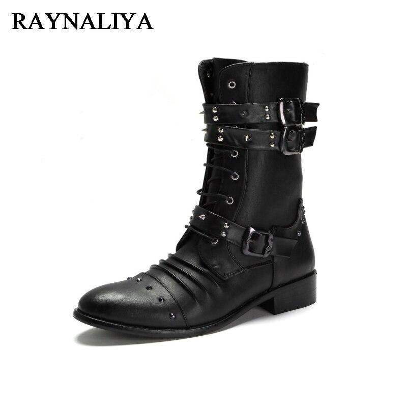 New Mid Calf Punk Shoes Street Fashion Rivets Winter Velvet Man Black Boots Buckle Gothic Lace Up Mid Calf Boots Shoes LMX-A0035 nancyjayjii velvet women fashion winter mid calf boots black
