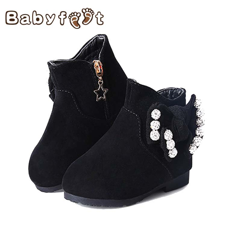 Babyfeet 2017 New Winter Fashion Baby  Butterfly Knot  Warm Soft and Comfortable Non-skip Bottom Leather Shoes Boots for Girls feiwo 8090g alloys plating analog quartz wrist watch for men black golden silver