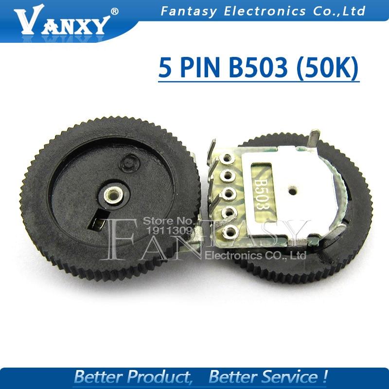 5pcs Double Gear Tuning Potentiometer B503 50K 5Pin 16*2mm Dial Potentiometer