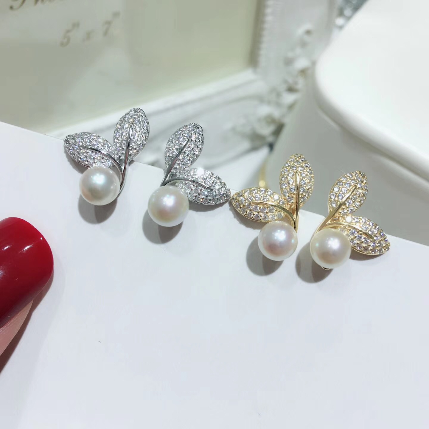 S925 Solid Silver Leaf Design Stud Earrings Settings Shinning Pearl Earrings Findings Silver Gold Color 3Pairs