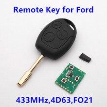 (Para Ford) Hoja FO21 Clave remoto 433 MHz con 4D63 Chip para Focus C MAX Fusión Tránsito KA Fiesta Mondeo Coche de Entrada Sin Llave Fob