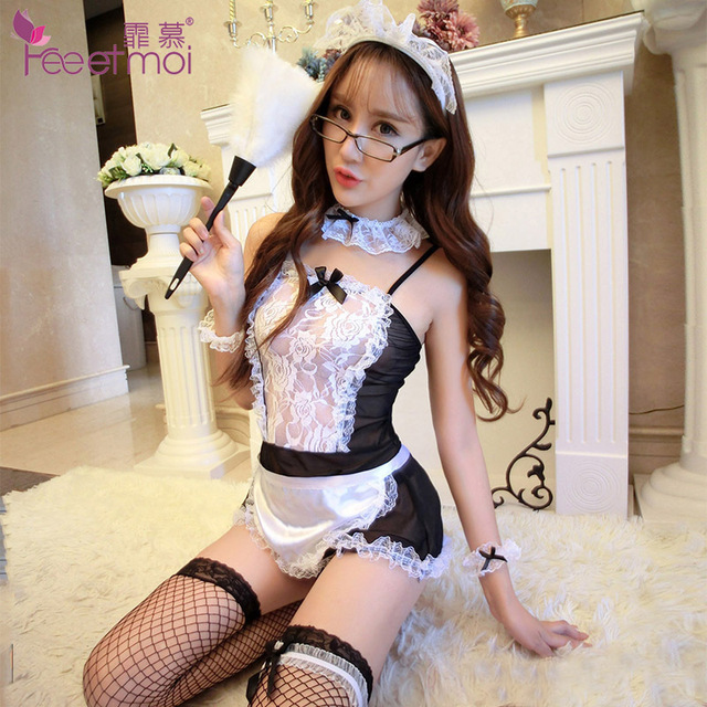 Lovely Women Sexy Lingerie Maid Costume Erotic Lace Transparent Lingerie Uniform Temptation Hot Sex Clothes Negligee Baby Doll