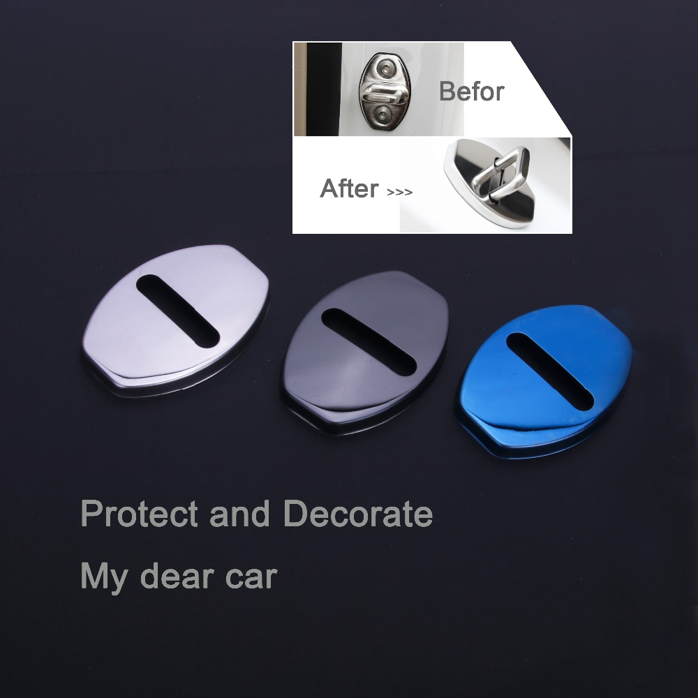 Car Stainless Car Door Lock Buckle Protective Cover For AUDI A1 A3 A4 A5 A6 A7 A8 Q3 Q5 Q7 VW Skoda Audi Sticker DB-005 MSKG 2pieces set hella car horn snail type for audi a1 a3 a4 a6 a7 a8 q3 q5 q7 r8 tt tc16s
