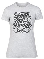 Free And Brave Typography Women S T Shirt Punk T Shirt Fashion Short Sleeve O Neck