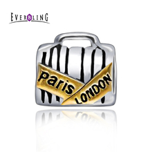 Everbling Jewelry Paris London Luggage Travel100% 925 Sterling Silver Charm Bead Fits Pandora European  Charms Bracelet