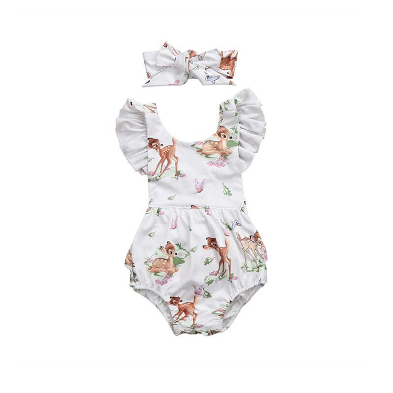 Bebê recém-nascido Da Criança Infantil Do Bebê Meninas Veado Impressão Curto Pétala Botão Coberto Linda Bodysuit Headband 2 PCS Outfit Verão 0-18 M