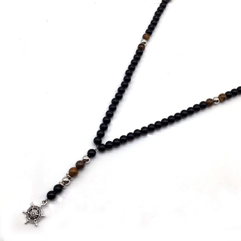 2018 Fashion New Men Necklace Beads Anchor Feather Hand Tree Pendant Necklace For Men Chain Jewelry