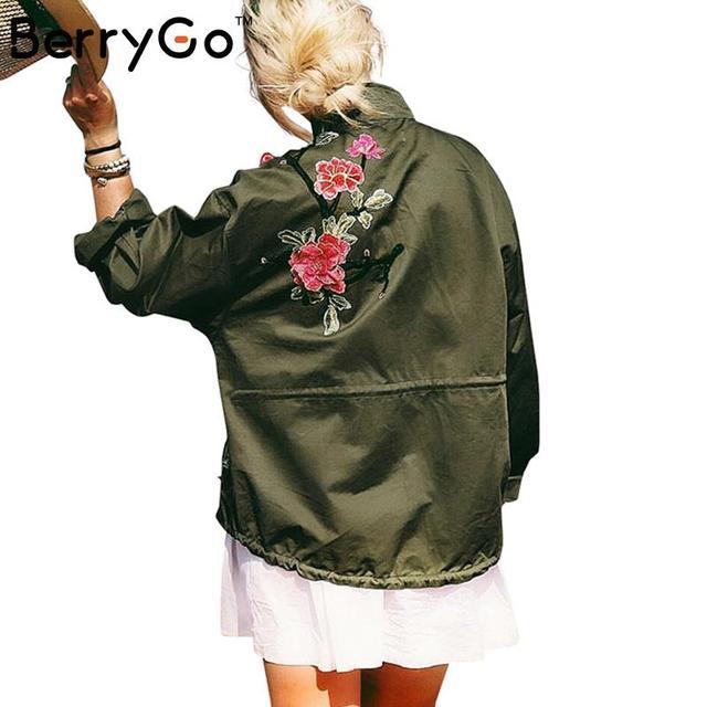 BerryGo 3d applique oversized casacos outerwear casuais Zíper casaco básico jaqueta mulheres jaqueta 2016 outono inverno veste sem forro