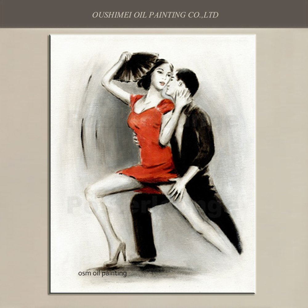Hand-painted Modern Portrait Oil Painting Wall Art Painting Hang Pictures Sexy Dancer Girl and Boy Dancing Artwork Picture