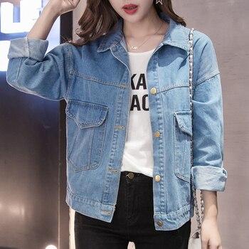 Più il Formato 5XL 2019 Autunno Streetwear Donne di Base Cappotti da Donna Giacca di Jeans Manica Lunga Allentati Femminili Dei Jeans Cappotto Casual Outwear