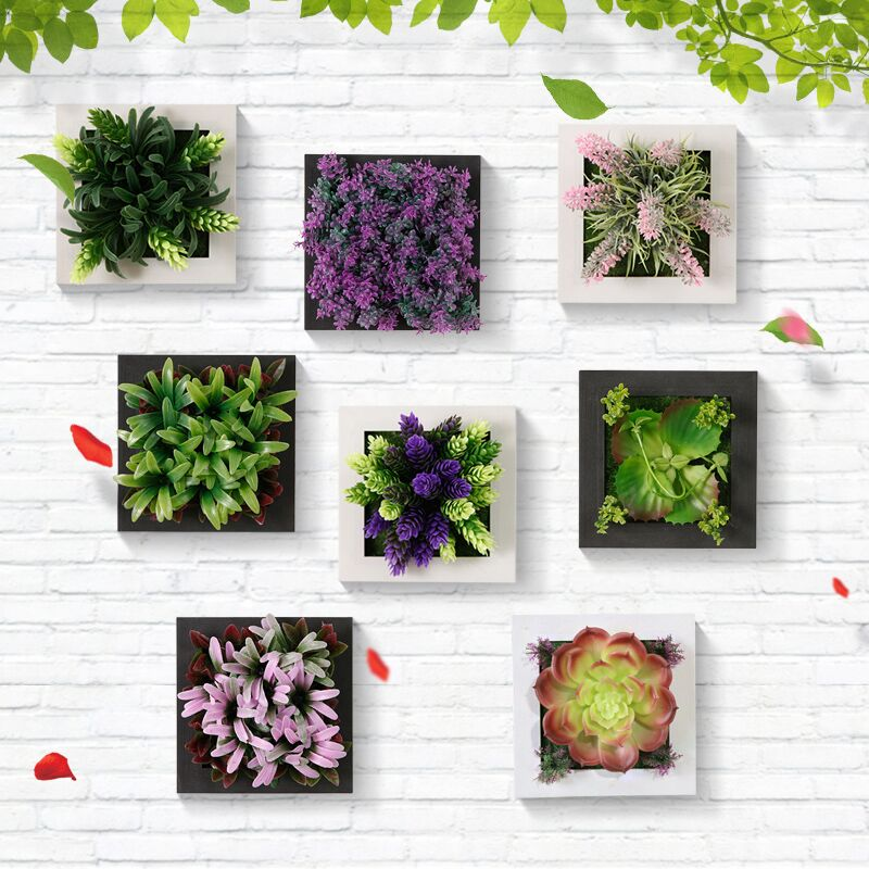 3d potted plants wall hanging emulational home bar party for 3d garden decoration