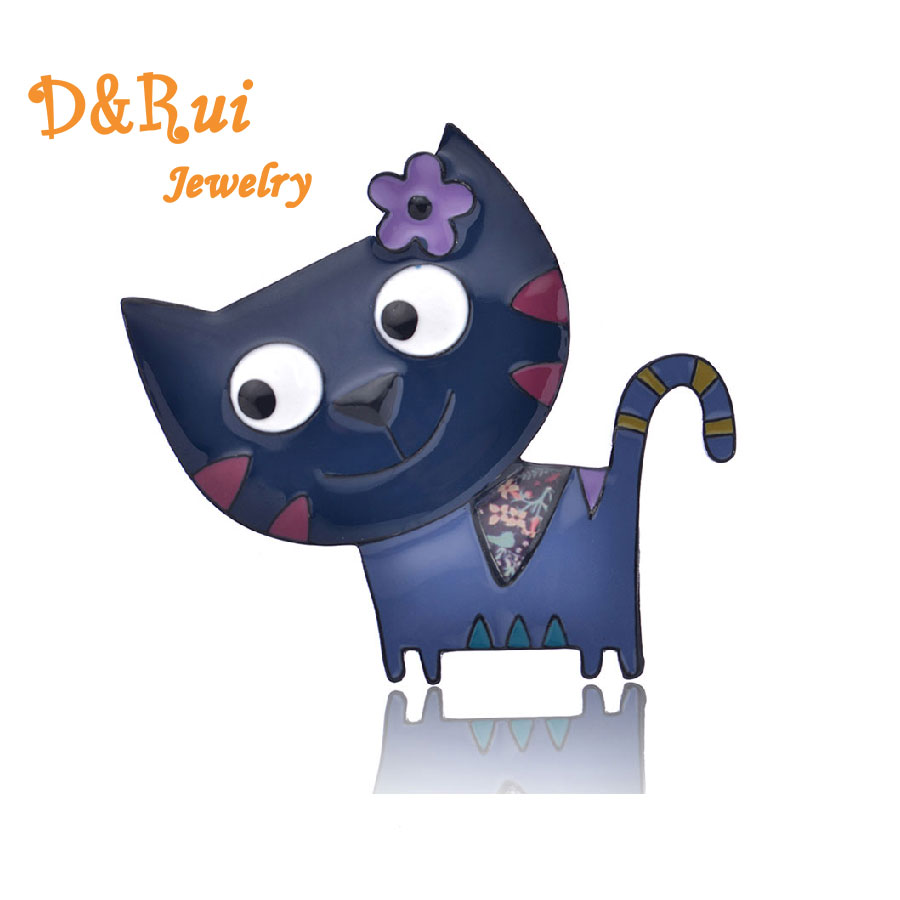 Big Blue Face Cat Brooch For Women Jewelry Vintage Enamel Brooches Pins Wedding Accessories Fashion 2019 Hot Sale Brooch Pin in Brooches from Jewelry Accessories