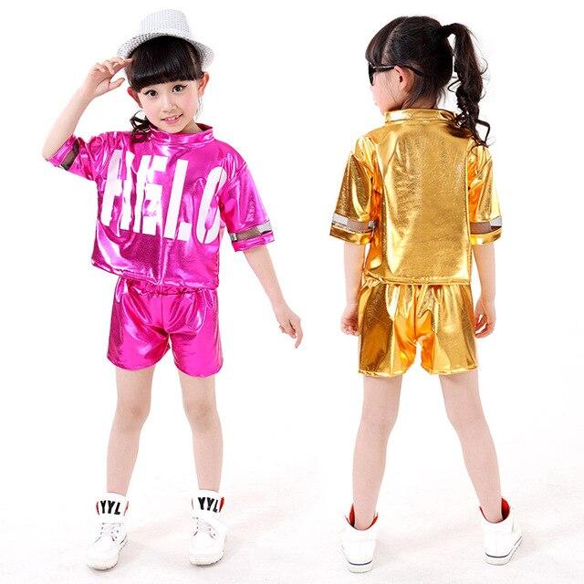 a017bf6394882 Nuevos trajes de baile modernos de moda para niños Jazz Hip Hop danza  trajes niñas calle