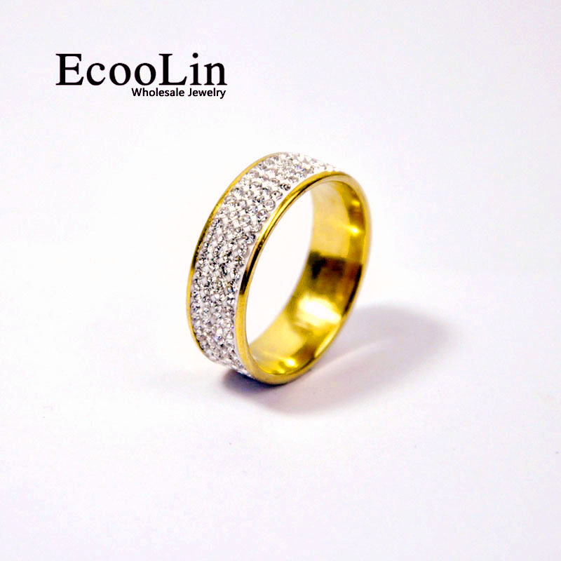 EcooLin 4 Row Lines Clear Crystal Wedding Rings For Women Fashion Rhinestone Stainless