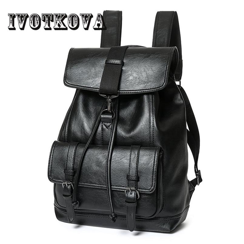 IVOTKOVA Men Backpacks PU Leather Men's Travel Bag Fashion Man Backpack Casual Business Backpack Male Backpack рюкзаки zipit рюкзак shell backpacks