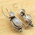 "Silver Plated Exclusive RAINBOW MOONSTONE 2 Gem DELICATE Earrings 1 1/8 """