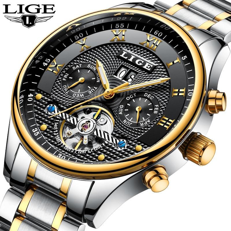 Nowy LIGE męskie zegarki Top marka luksusowe moda męska biznes automatyczny zegarek człowiek pełna stali nierdzewnej wodoodporny zegar relogio masculino w Zegarki mechaniczne od Zegarki na  Grupa 1