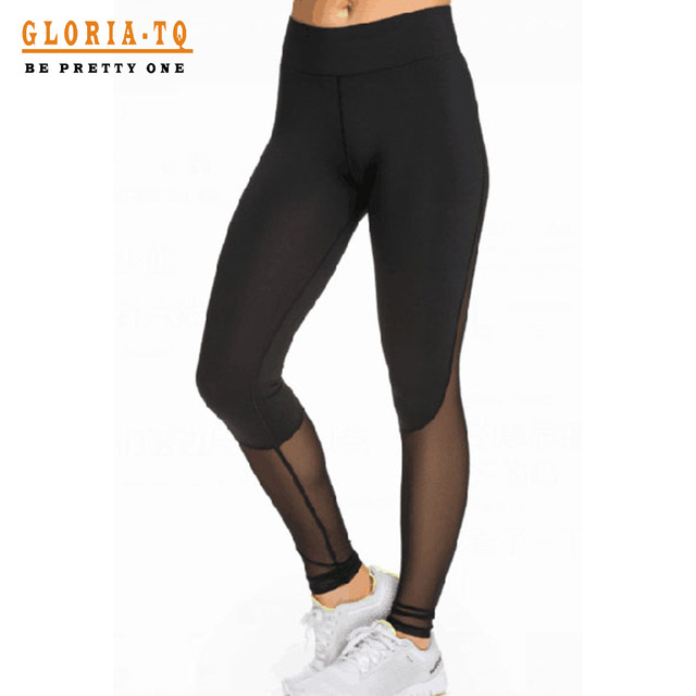 2017 Black/Grey Mesh Stitching Fitness Sporting Leggings Women Leggins Slim Effect Jeggings Pants Breathable Clothing For Women