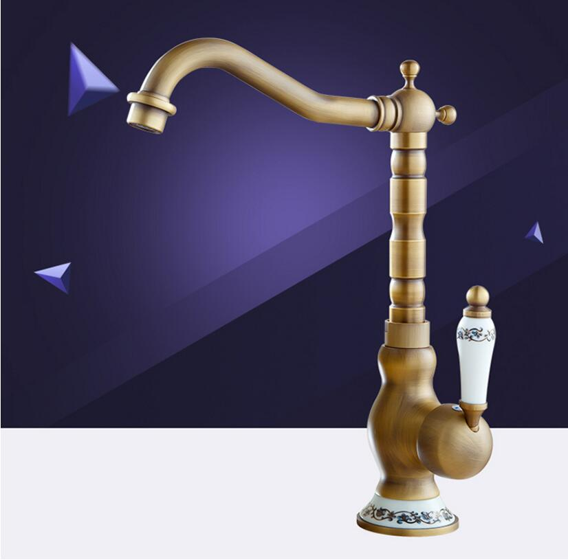 Fashion high quality anti brass plating brass Europe style single lever hot and cold kitchen Faucet
