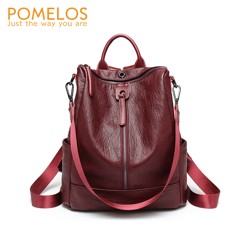 POMELOS 2018 Fashion Soft Leather Womens Backpack Female Back Pack Purse Rucksack Ladies Shoulder Bag Bagpack Travel Backpacks