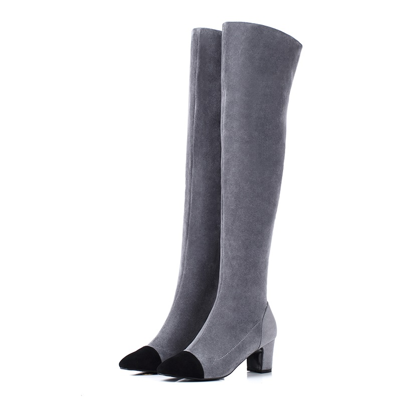 ФОТО botas femininas 2016 new fashion autumn winter boots for women high heels round toe apricot shoes woman over the knee high boots