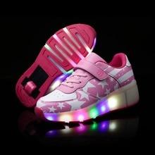 Boy& Girl Wheel Roller Shoes Fashion Sport Casual Ice Skates LED Light Roller Skate Shoes For Children Kids Junior Boys Sneakers