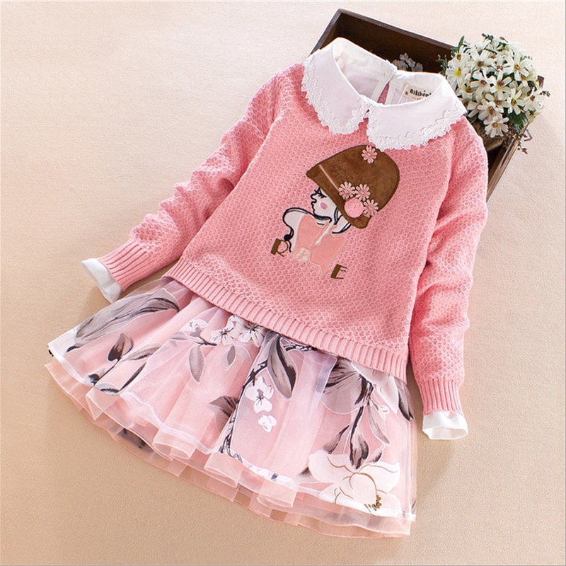 Baby Girls set Autumn Winter clothes for children Cotton Cartoon girl outfit Sweater coat+skirt Kids princess costume 7-13 year 2016 new winter spring autumn girls kids boys bunnies patch cotton sweater comfortable cute baby clothes children clothing