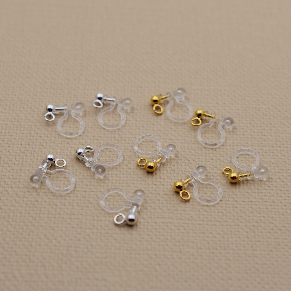 Resin Ear Clip No Pierced Ear Clip Stud Earrings Jewelry Findings 50 Pieces  25pairs(china