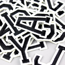1pcs A-Z Letter Patches white English Mixed Embroidered Iron-On Applique For Clothing Badge Paste,Clothes Bag Pant Sewing