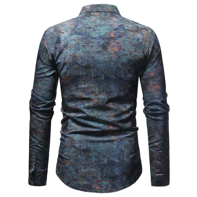 3D Ретро рубашка с цветочным принтом для мужчин 2019 Повседневная приталенная рубашка с длинными рукавами для мужчин s Social Dress рубашки хипстерская уличная одежда Гавайская блузка Топ