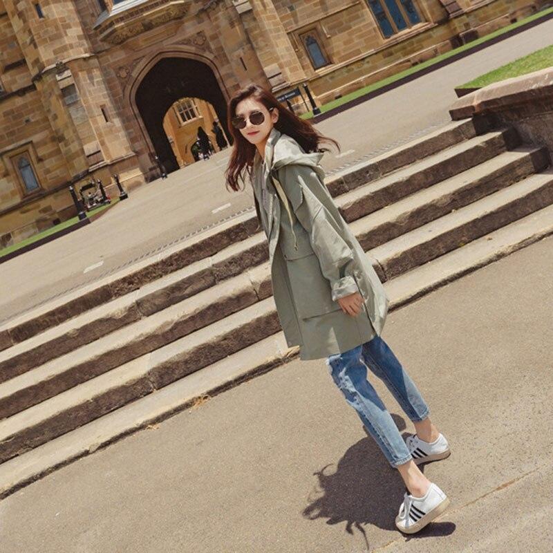 Ami Manteau Blue armygreen Occasionnel Et Coréen Coupe 2018 Capuchon Automne Armygreen vent Petit Printemps À Vent Tranchée Outwear Poches Femmes Lâche B0nq1xtx