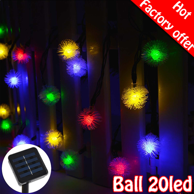 Spikey Ball 20 Led Solar String Lights Outdoor Festival Lighting Holiday Garden Decoration 4 8 Meter