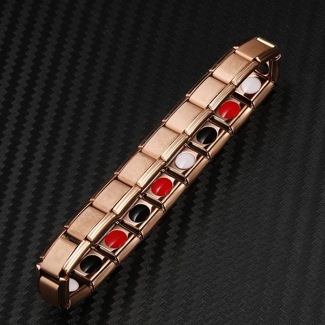 Rose Gold Black Color Stainless Steel Bio Energy Elastic Bracelets