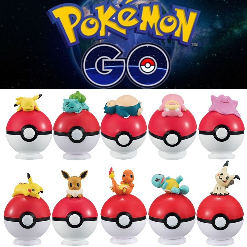 pikachu 20Pcs Pokeball+20pcs Random Figure Inside action figures Cosplay Props Movie Peripheral Cute Gift