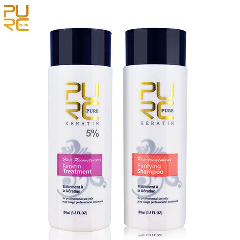 PURC 1 Set Formalin Brazilian Keratin Hair Treatment Conditioner and Protein Shampoo for Damage Hair Straightening Hair Repair Lahore