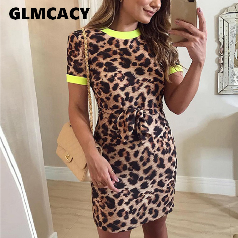 Plus Size Women Tie Front Leopard Printed Mini Dress Fitted O Neck Short Sleeve Sheath Dress Summer Modern Lady Party Dress