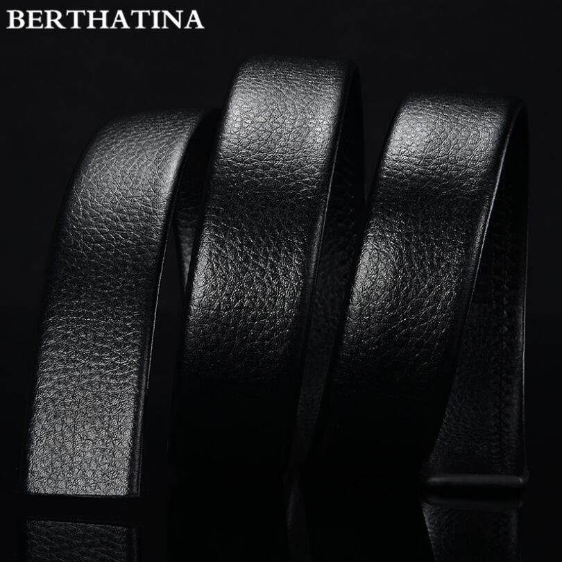 BERTHATINA Brand No Buckle 3.5cm Wide Genuine Leather Automatic Belt Body Strap Without Buckle Belts Men Good Quality Male Belts